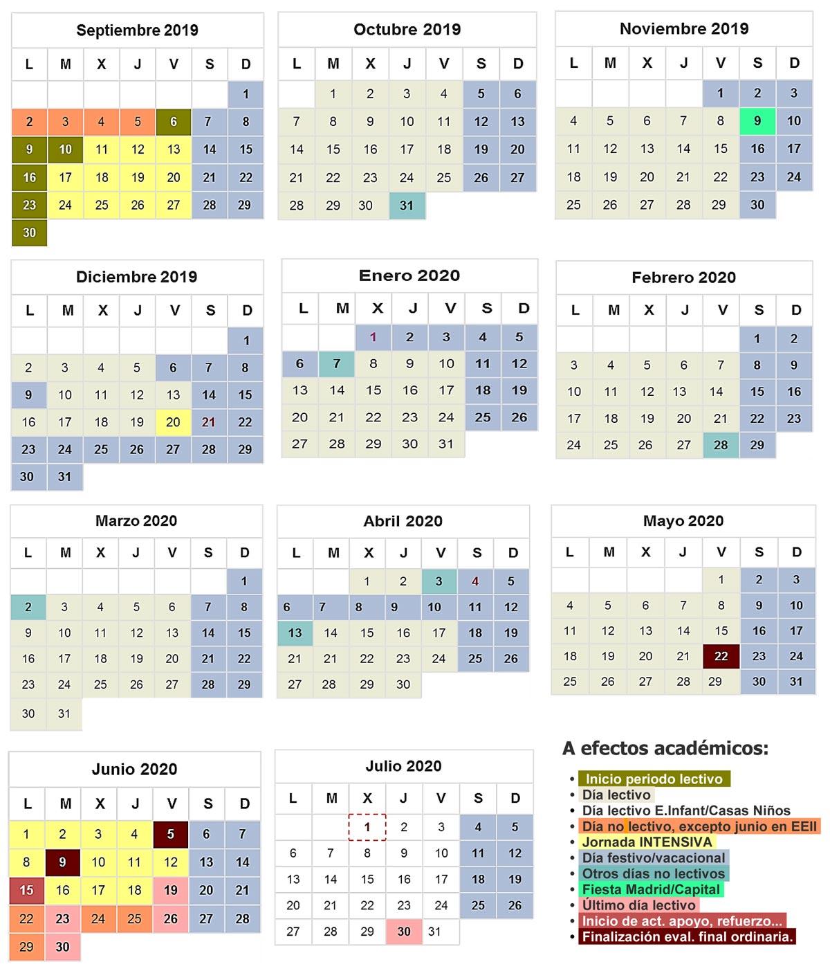 Calendario Universitario.Calendario Escolar Colegio Lourdes Fuhem